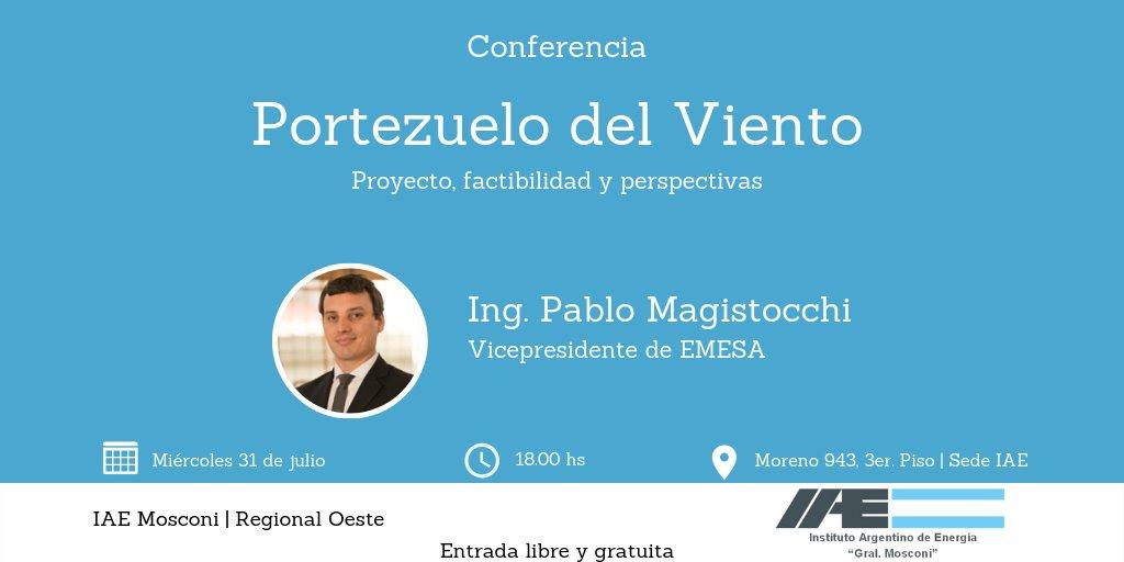 Miércoles 31 de julio | 18hs | Portezuelo del Viento: proyecto, factibilidad y perspectivas. Conferencia a cargo del Ing. Pablo Magistocchi (EMESA)